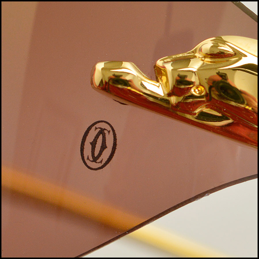 RDC 8386 Cartier Luxe Gold Panthere Sunglasses close up 2