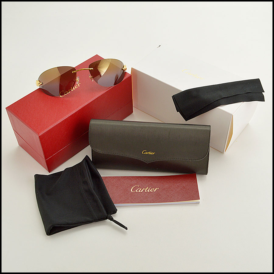 RDC 8386 Cartier Luxe Gold Panthere Sunglasses extras