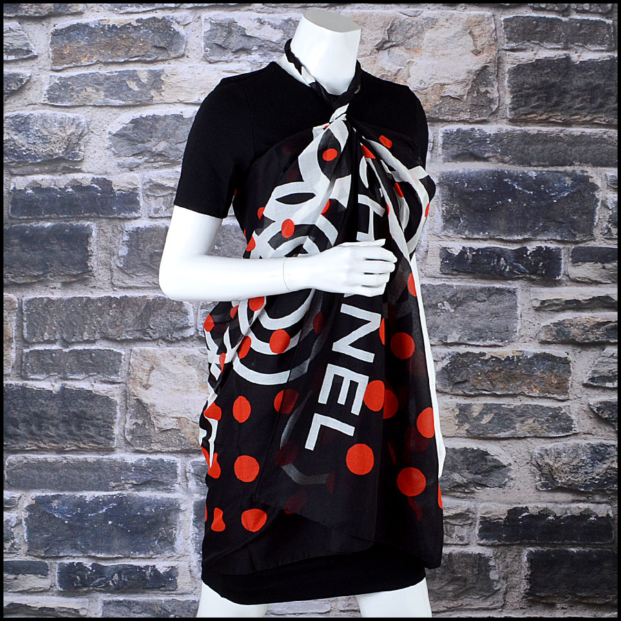 Chanel Black Pareo Sarong Scarf mannequin