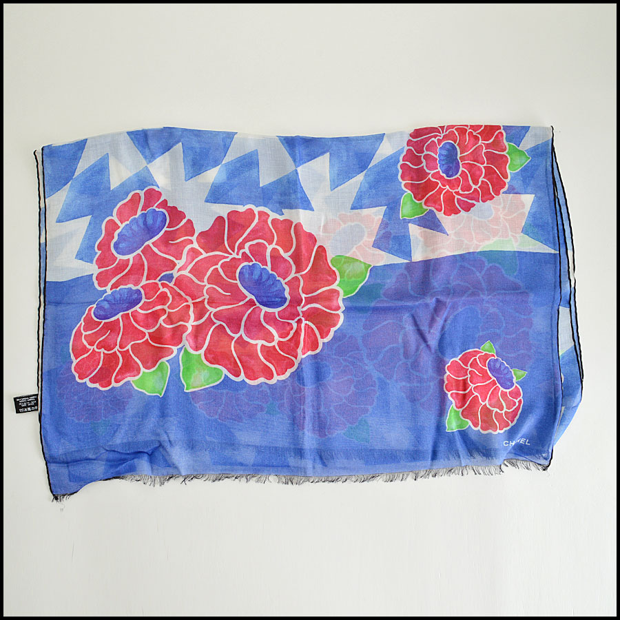 Chanel Blue Floral Long Scarf