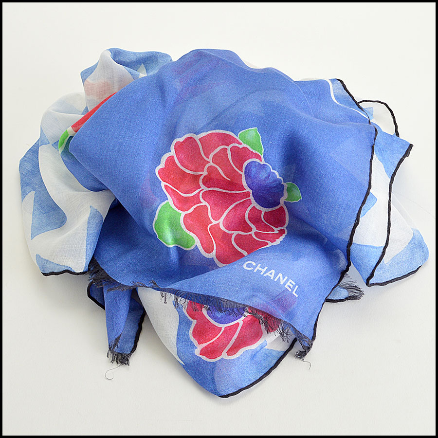 Chanel Blue Floral Long Scarf fold