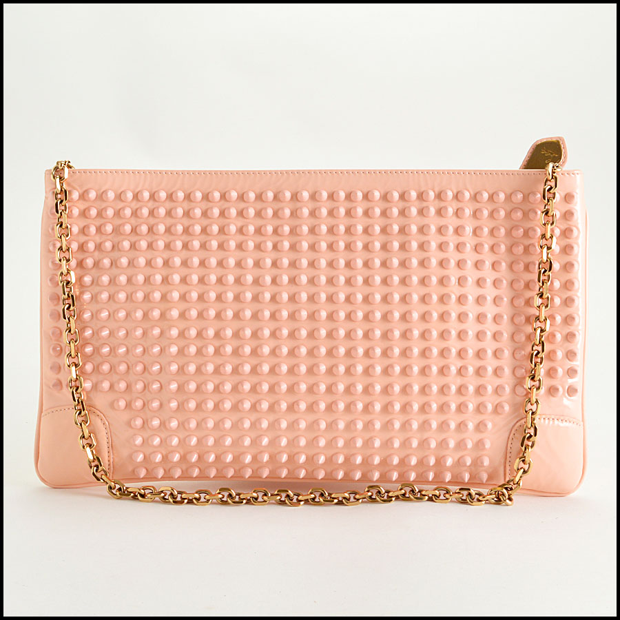 RDC8110 Louboutin Baby Pink Loubiposh Spiked Clutch back