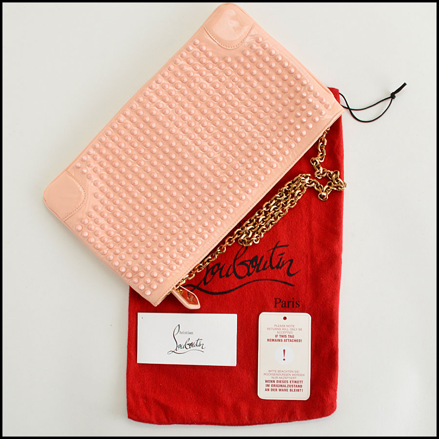 RDC8110 Louboutin Baby Pink Loubiposh Spiked Clutch extras