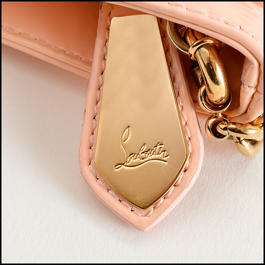 RDC8110 Louboutin Baby Pink Loubiposh Spiked Clutch tag two