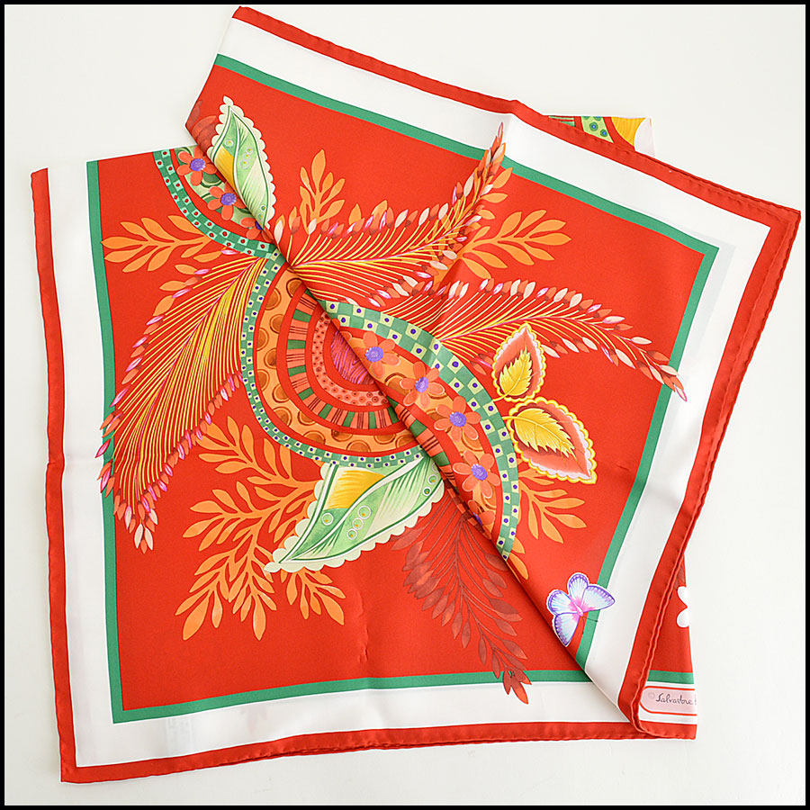 RDC7780 Ferragamo Red and Green Floral Scarf