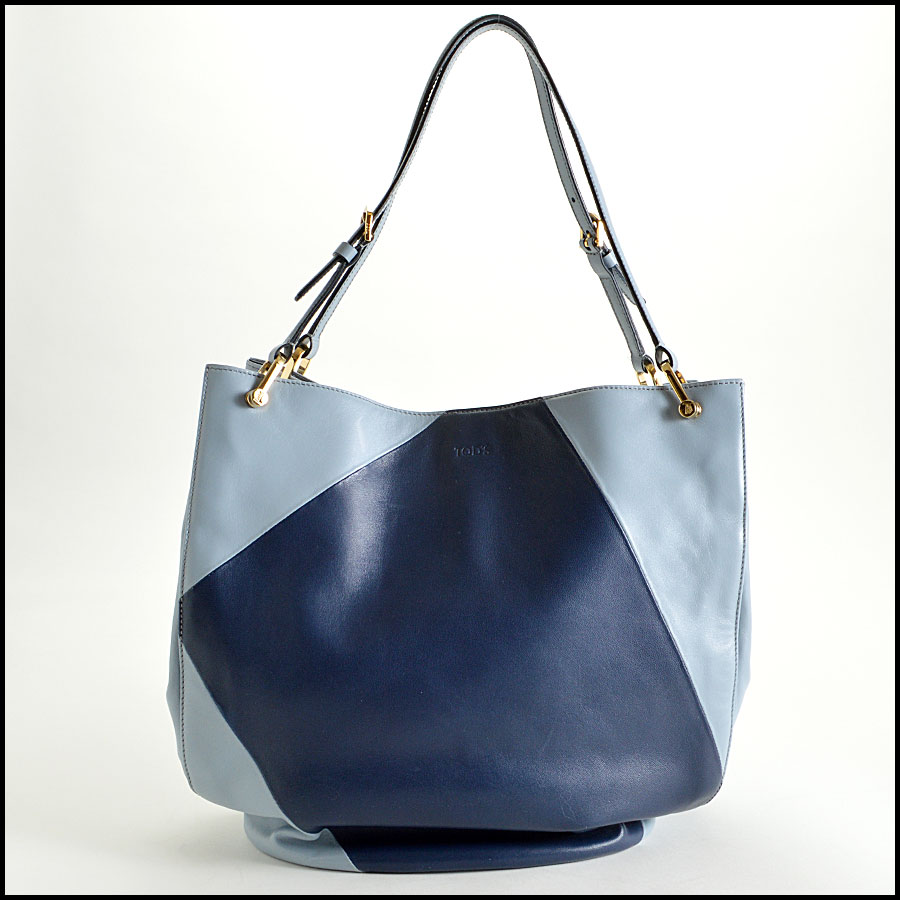Tods light blue and navy horse Bucket bag