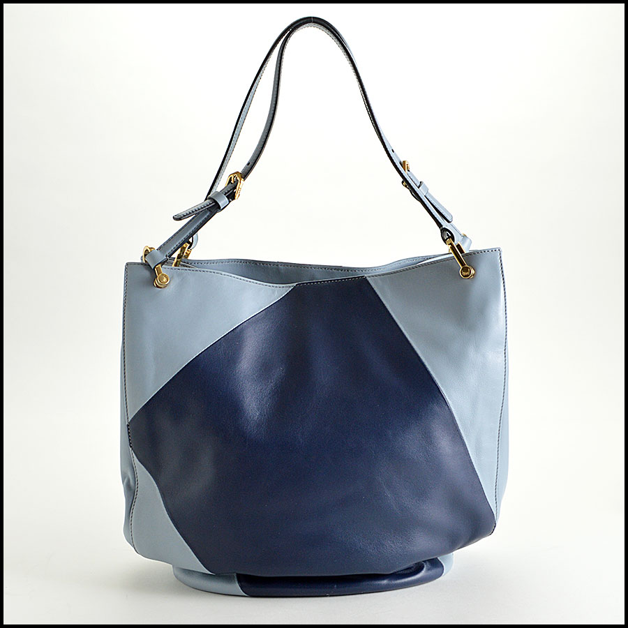 Tods light blue and navy horse Bucket bag back