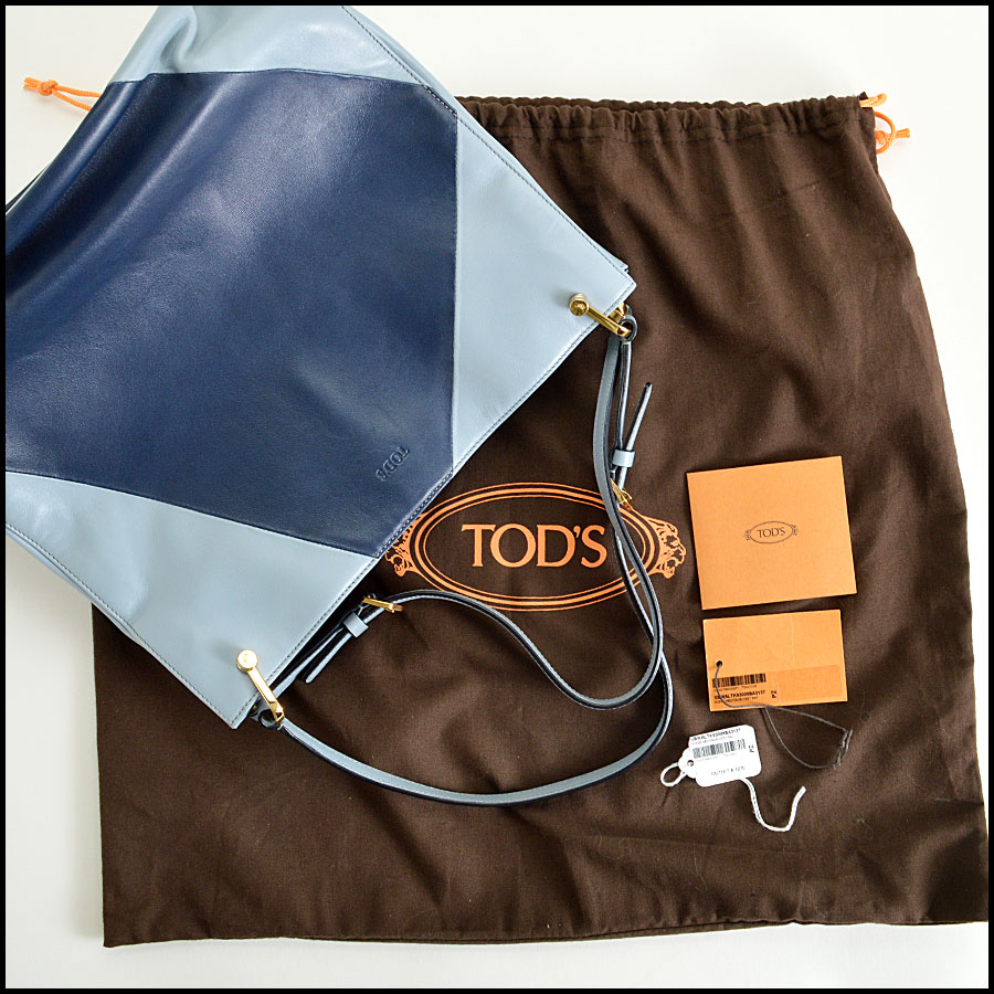 Tods light blue and navy horse Bucket bag extras