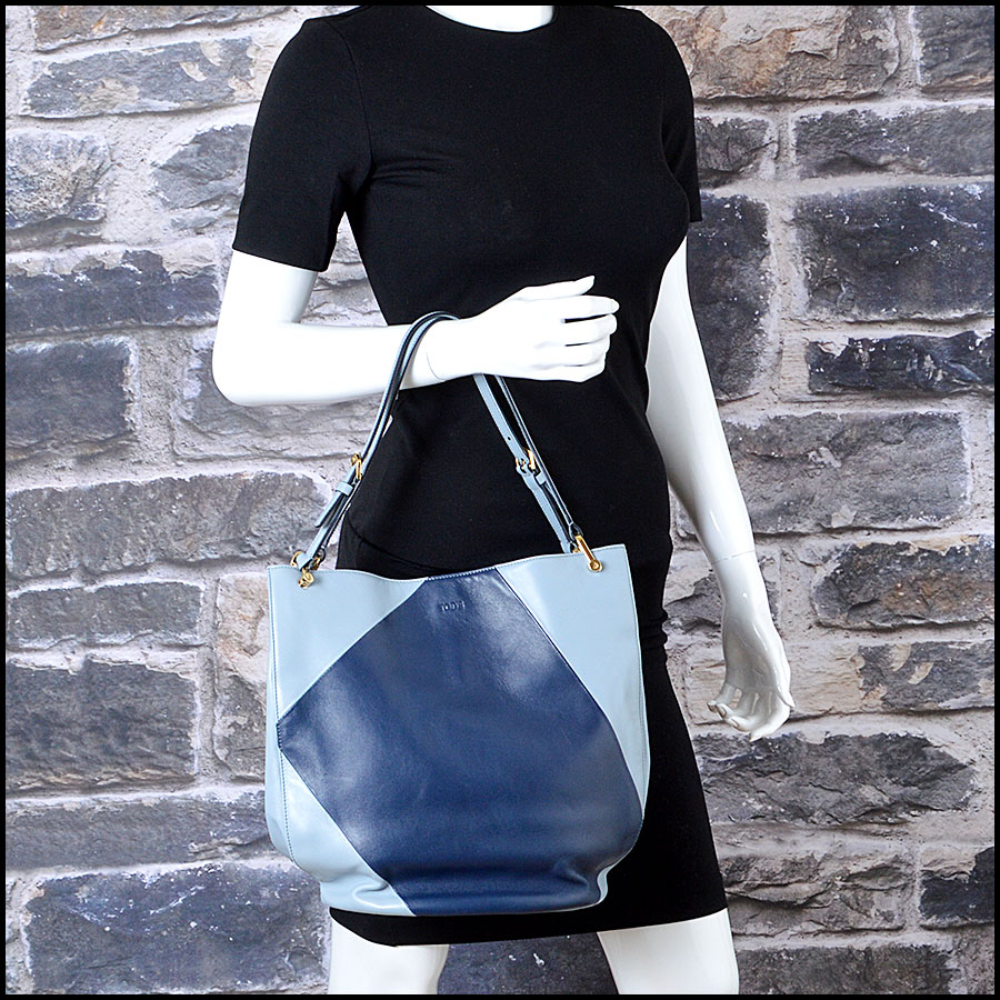 Tods light blue and navy horse Bucket bag model