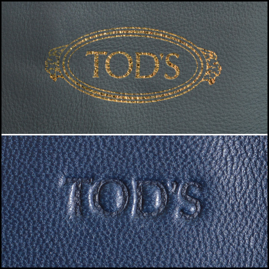 Tods light blue and navy horse Bucket bag tag 2