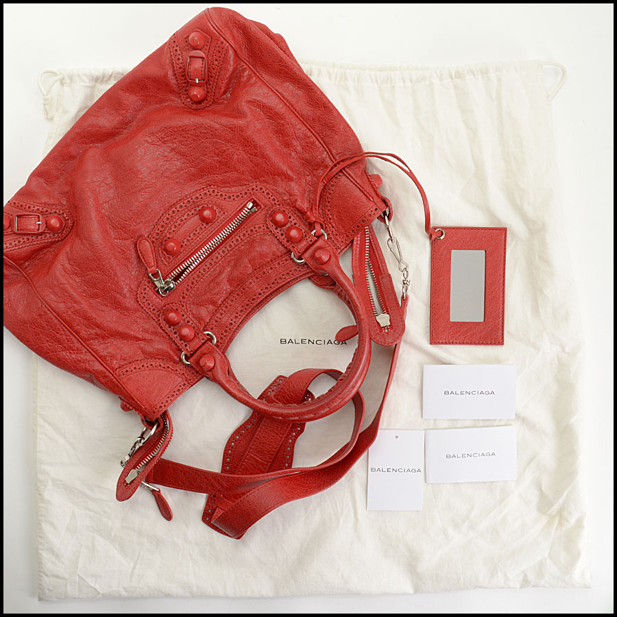 RDC10877 Balenciaga Poppy Red Giant Covered Brogues Velo Crossbody includes