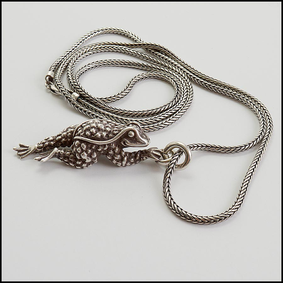 RDC11236 Barry Kieselstein-Cord Sterling Frog Pendant Necklace