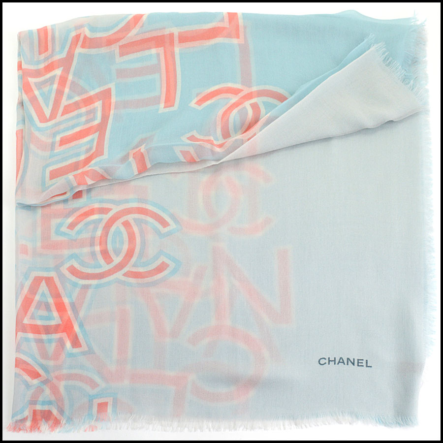 RDC11112 Chanel Blue Pink Ivory Cashmere Scarf Wrap