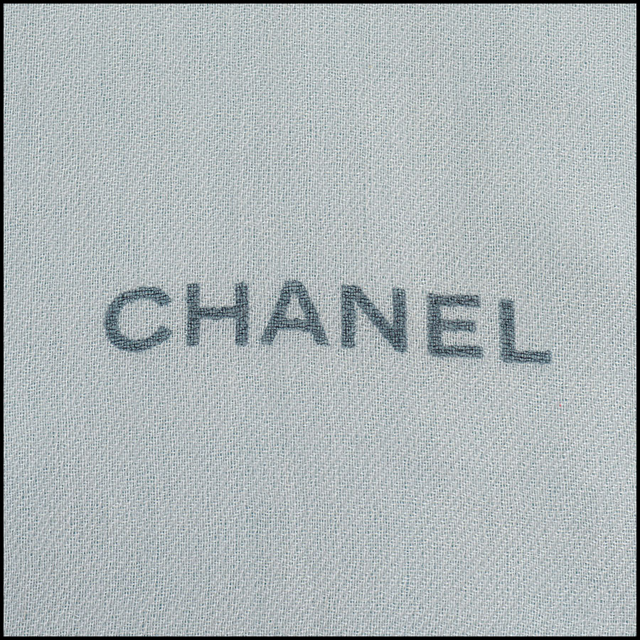 RDC11112 Chanel Blue Pink Ivory Cashmere Scarf Wrap signature