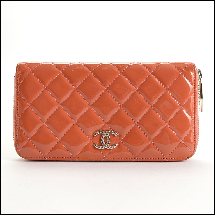 RDC10943 Chanel Melon Patent Quilted Leather Zip Wallet