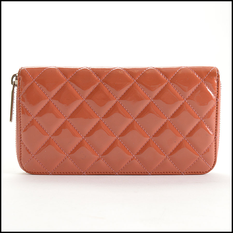 RDC10943 Chanel Melon Patent Quilted Leather Zip Wallet back