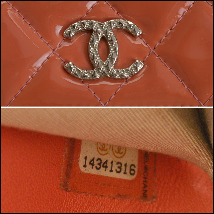 RDC10943 Chanel Melon Patent Quilted Leather Zip Wallet tag