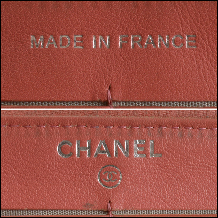 RDC10943 Chanel Melon Patent Quilted Leather Zip Wallet tag 1