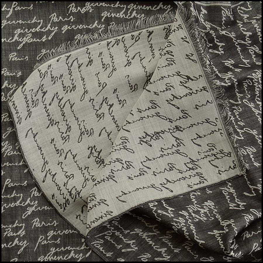 RDC11675 Givenchy Black/White Script Wool/Silk Stole close up