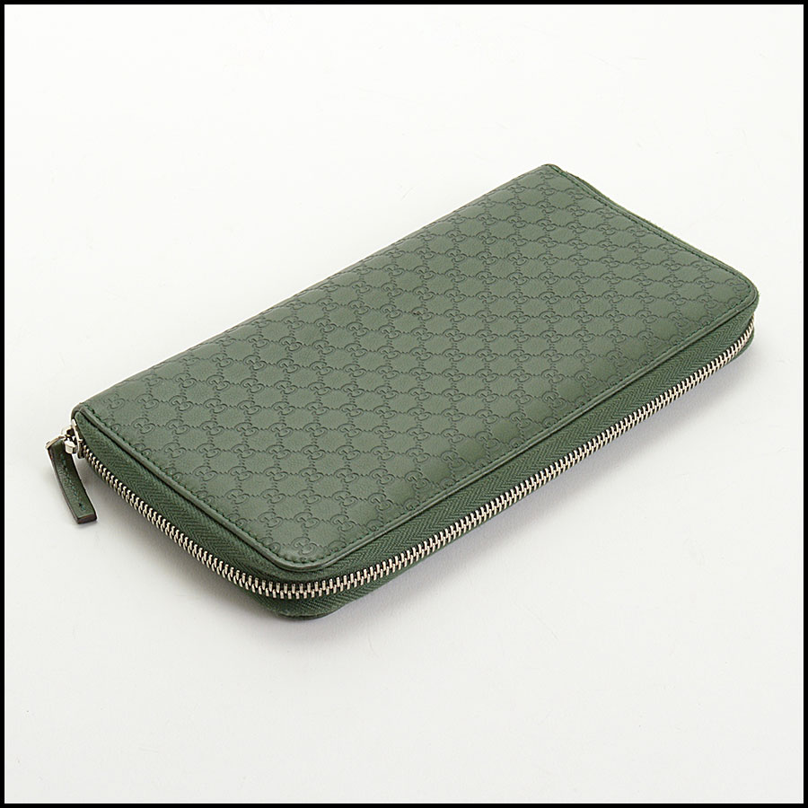 RDC10865 Gucci Green Leather Long Zip Wallet bottom