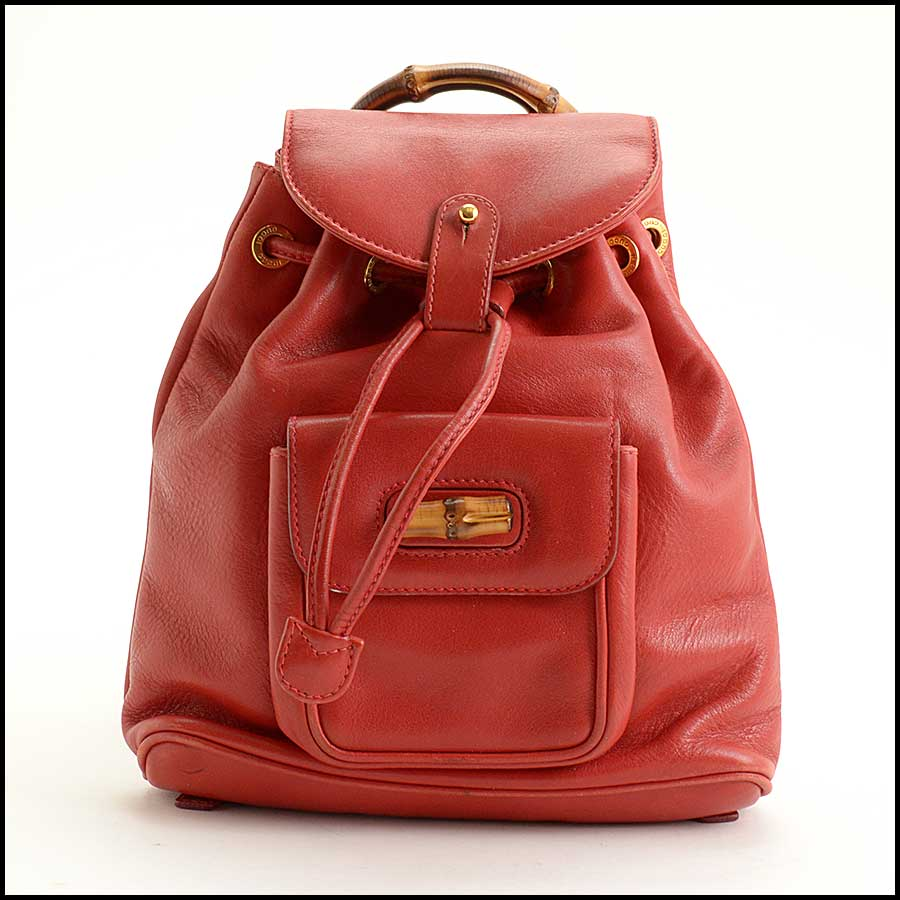 RDC11530 Gucci Red Leather Bamboo Handle Backpack