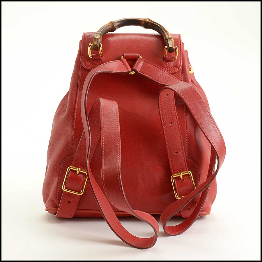 RDC11530 Gucci Red Leather Bamboo Handle Backpack back