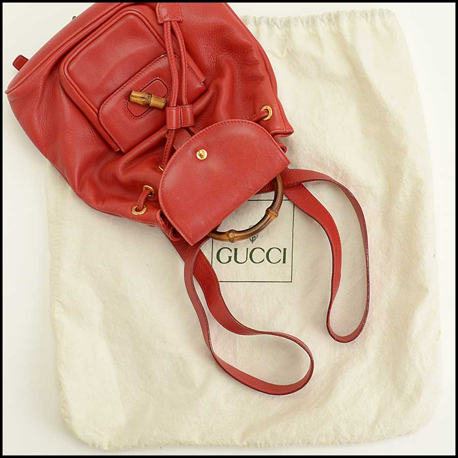 RDC11530 Gucci Red Leather Bamboo Handle Backpack includes
