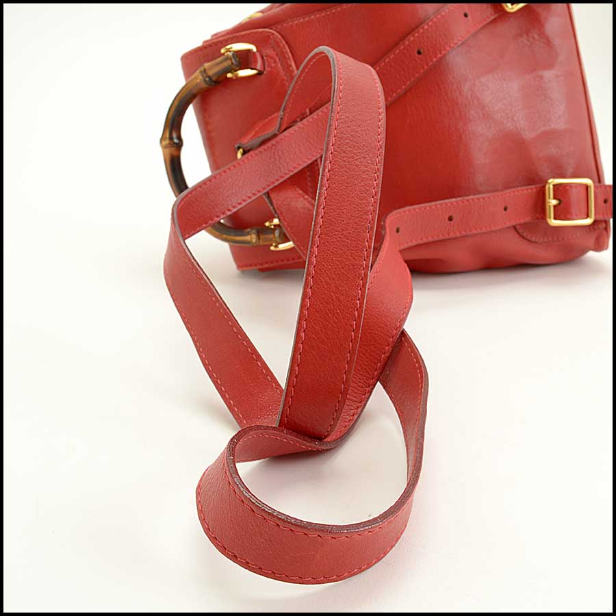 RDC11530 Gucci Red Leather Bamboo Handle Backpack handle