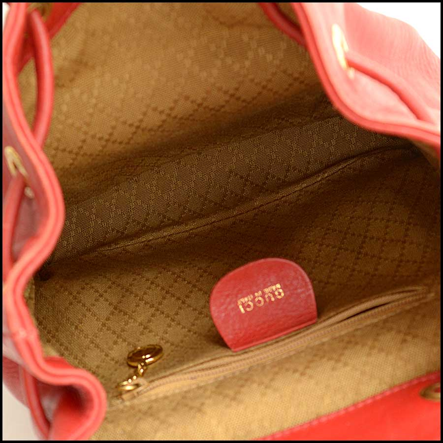 RDC11530 Gucci Red Leather Bamboo Handle Backpack inside