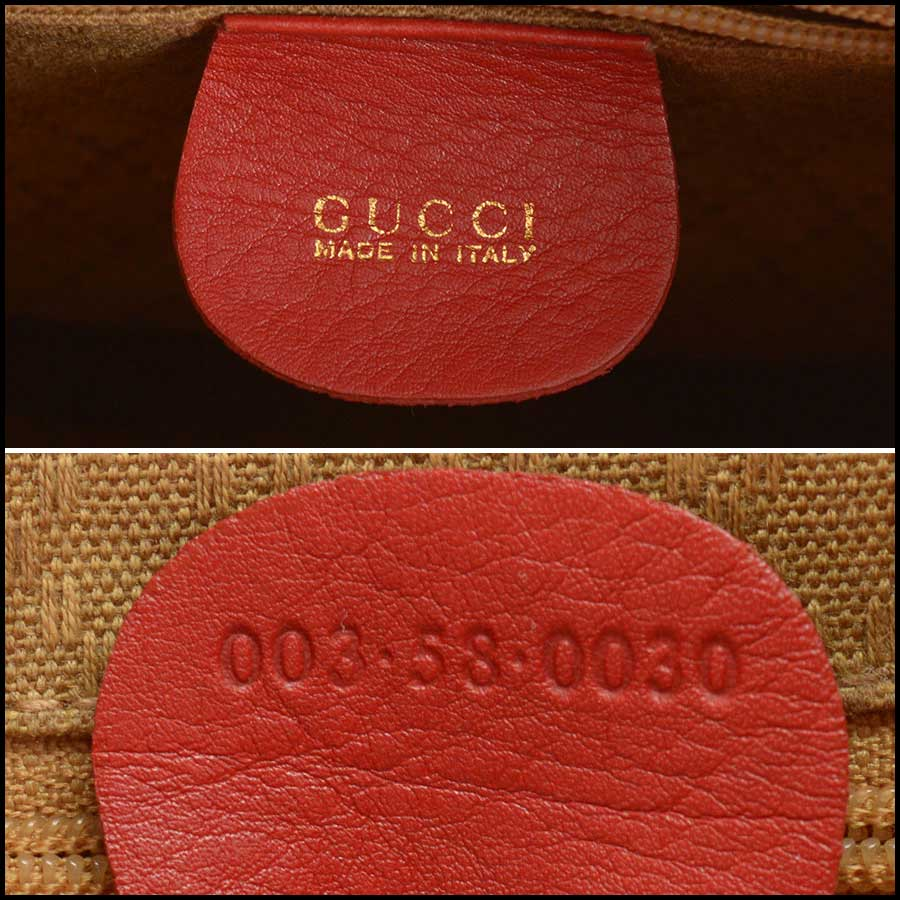 RDC11530 Gucci Red Leather Bamboo Handle Backpack tag