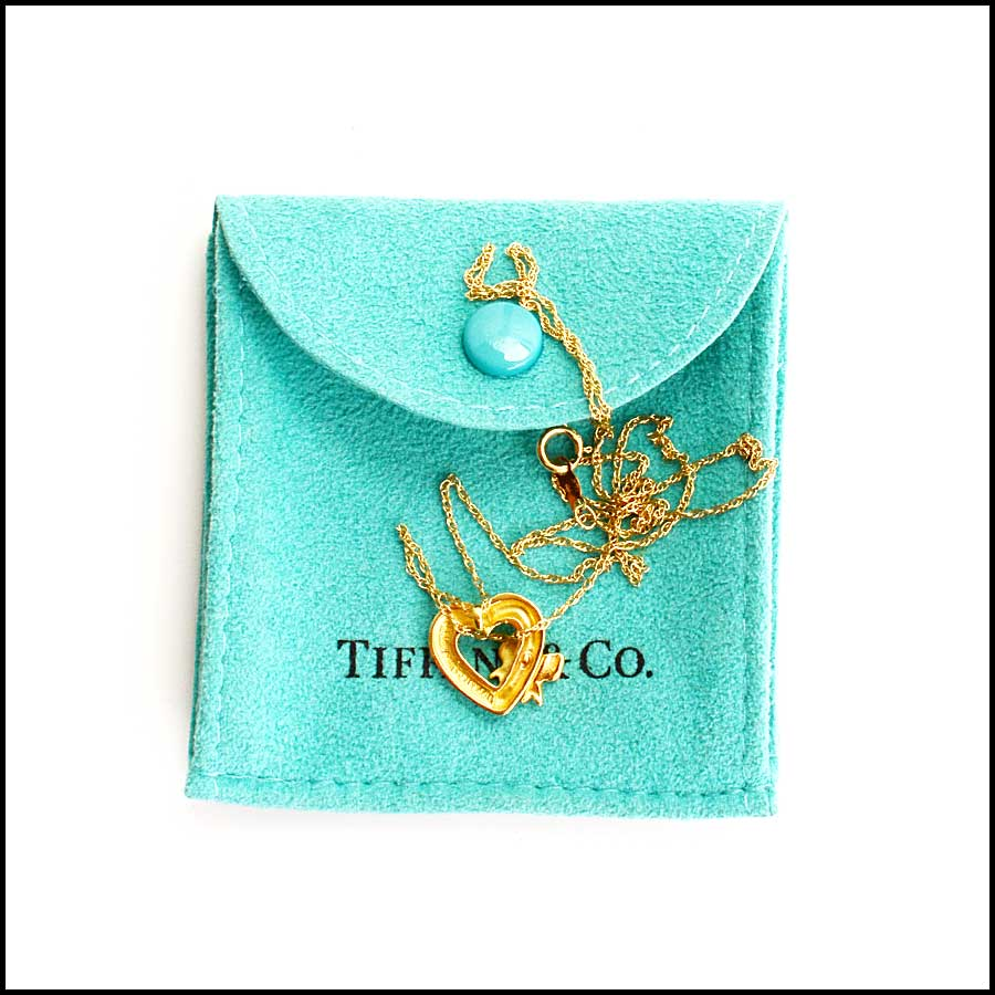 RDC11321 Tiffany & Co. 18K Gold Heart Bow Necklace includes