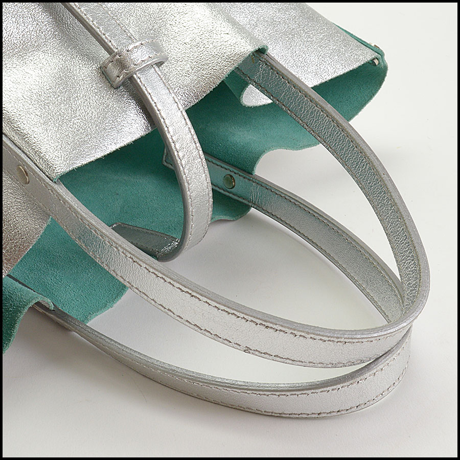 RDC10990 Tiffany & Co. Silver Leather/Blue Suede Mini Tote Bag handle