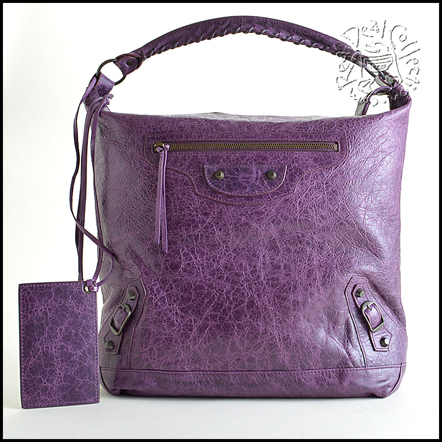 RDC6040 Balenciaga Raisin Purple Lambskin Day Hobo Bag
