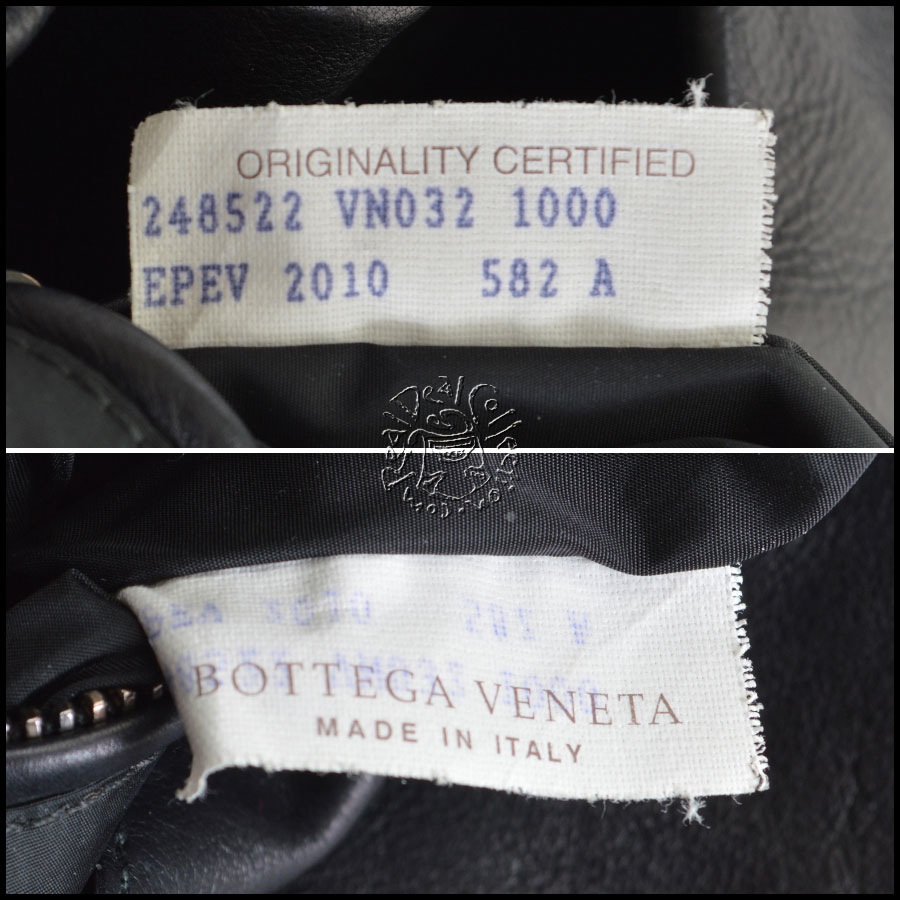 Bottega Veneta Authentic Used Black Messenger tag