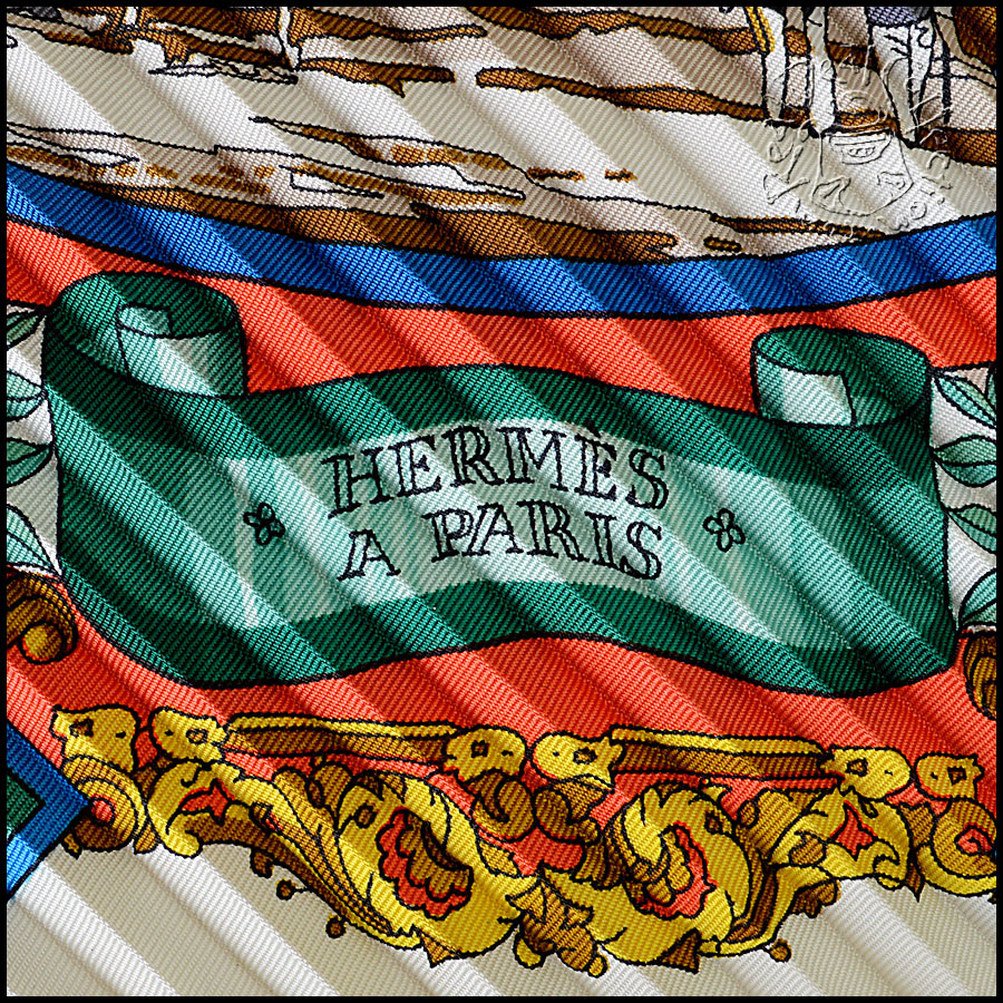 Hermes L'Entente Cordiale Pleated Scarf Logo