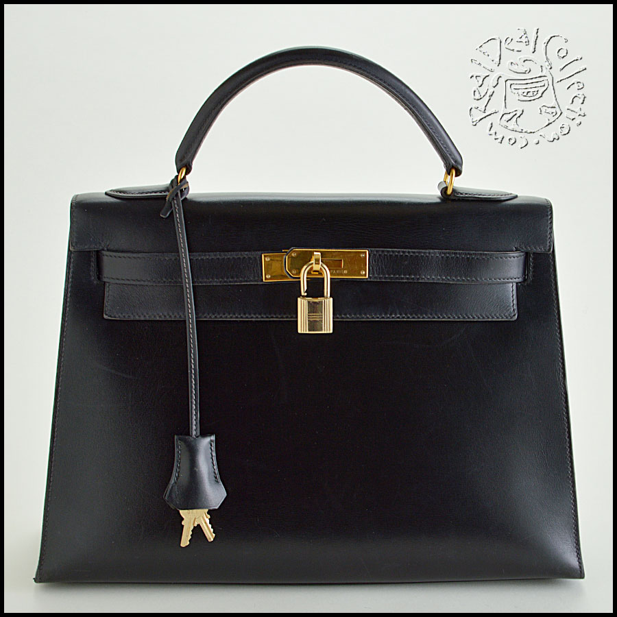 Hermes Black Box Leather Kelly Sellier 32cm Handbag
