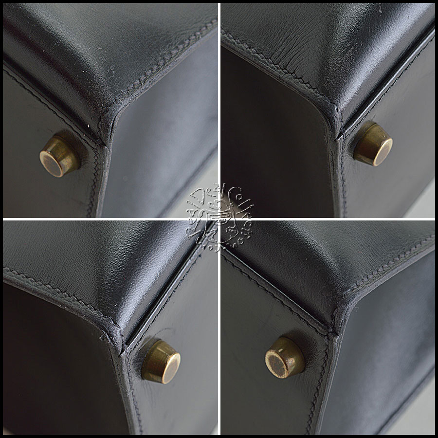 Hermes Black Box Leather Kelly Sellier 32cm Handbag Corners