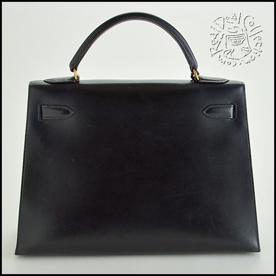 Hermes Black Box Leather Kelly Sellier 32cm Handbag Back
