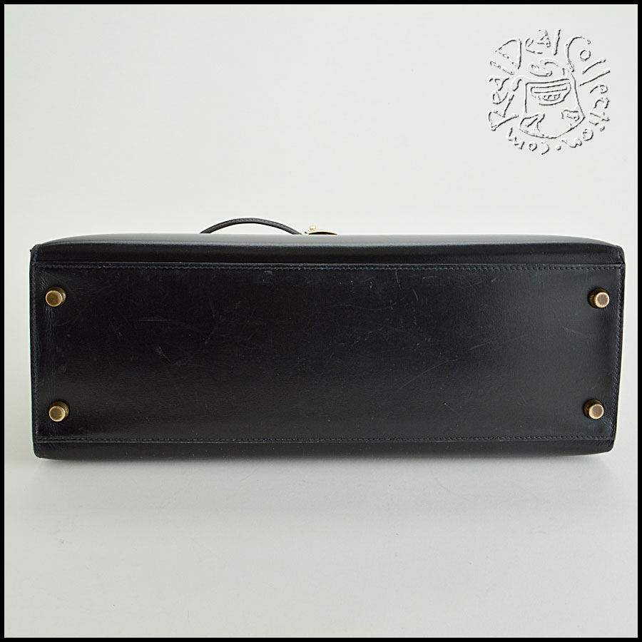 Hermes Black Box Leather Kelly Sellier 32cm Handbag Bottom