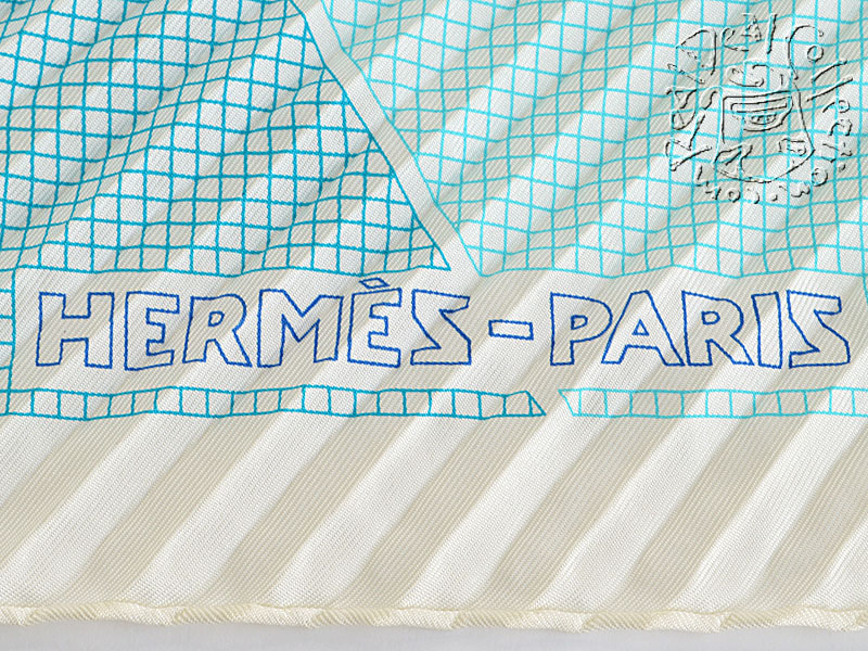 Hermes Blue H en Bias Pleated Silk Scarf Logo