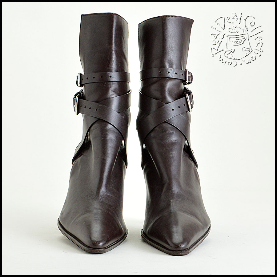 Hermes Brown Leather Ankle Boots Booties Heels