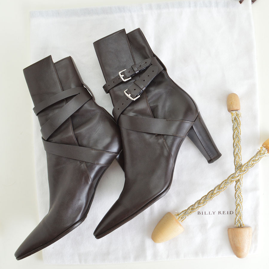 Hermes Brown Leather Ankle Boots Booties Heels Extra