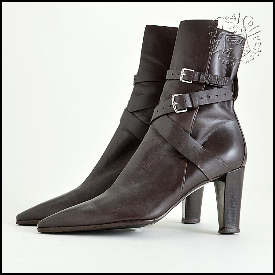 Hermes Brown Leather Ankle Boots Booties Heels Side1
