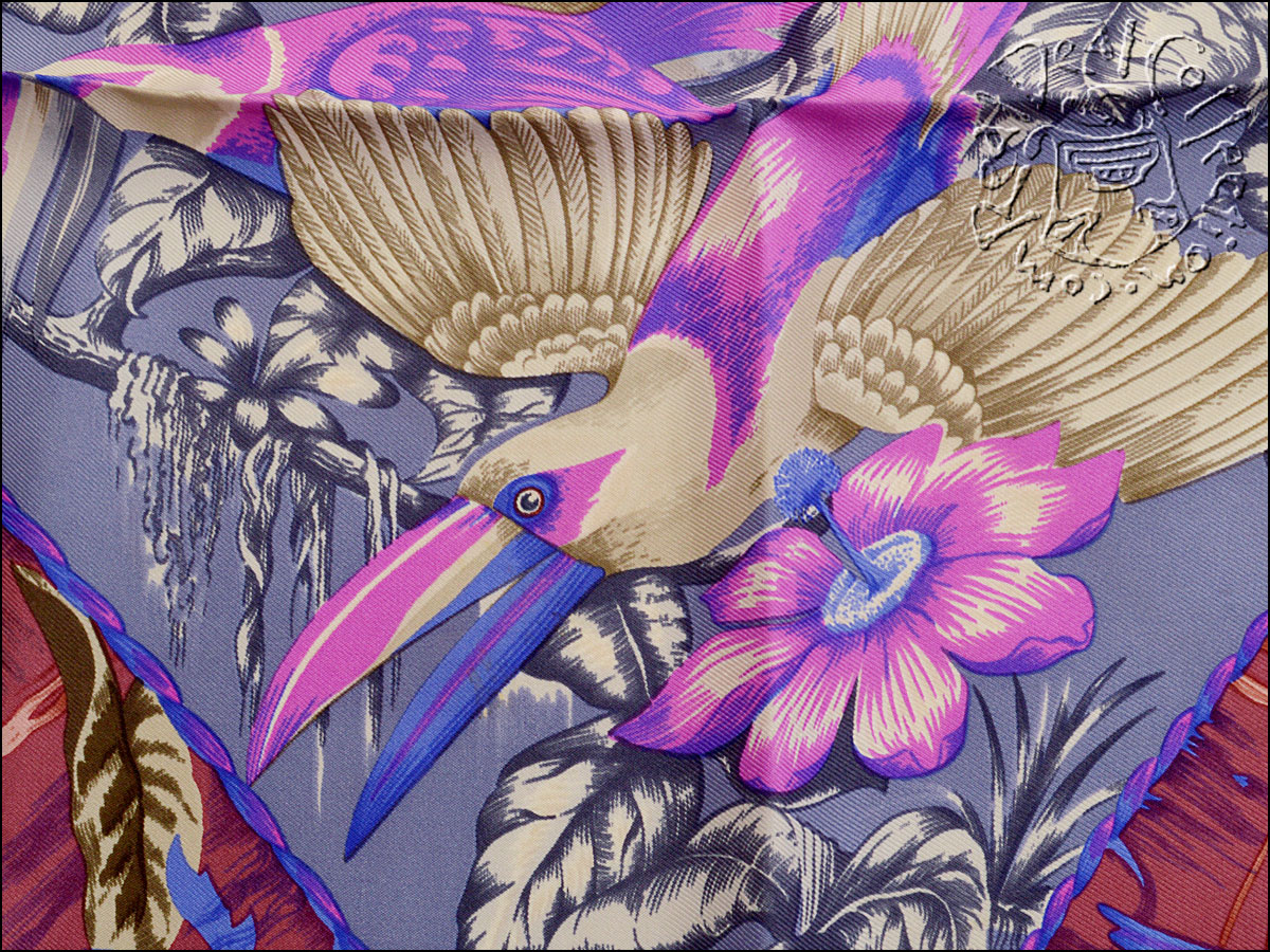 Hermes Tropiques 90cm Silk Twill Scarf Close up