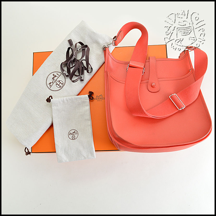 Hermes Rose Epsom Leather Evelyne III GM Crossbody Bag