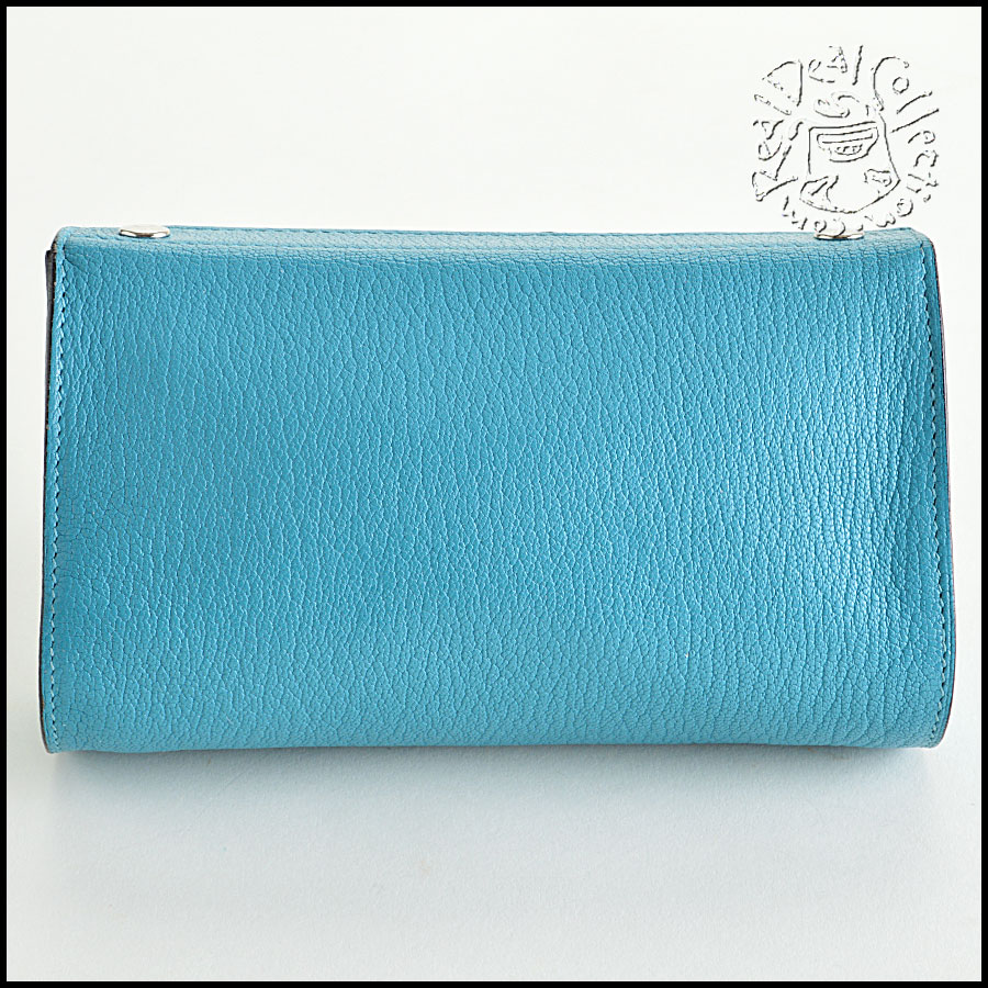 Hermes Turquoise Leather Karo Makeup Pouch