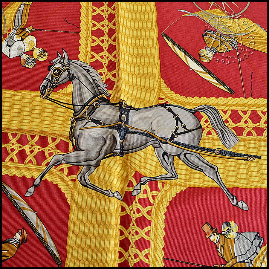 Hermes Voitures Paniers Scarf close up