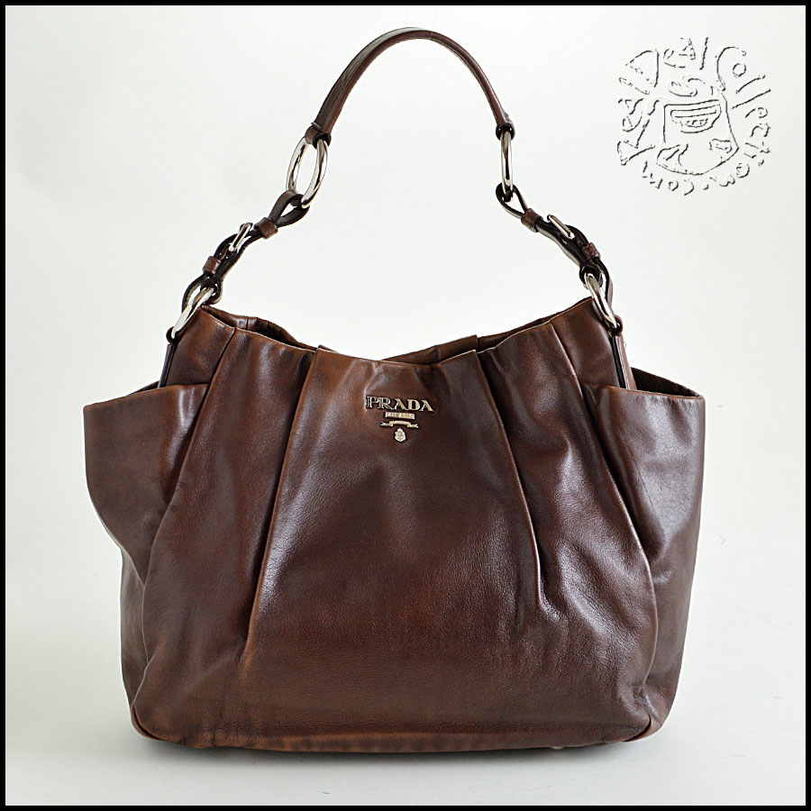 Prada Brown Leather Shoulder Bag nYEpUK