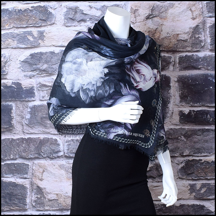 RDC9512 Alexander McQueen Black Floral Modal and Silk Shawl