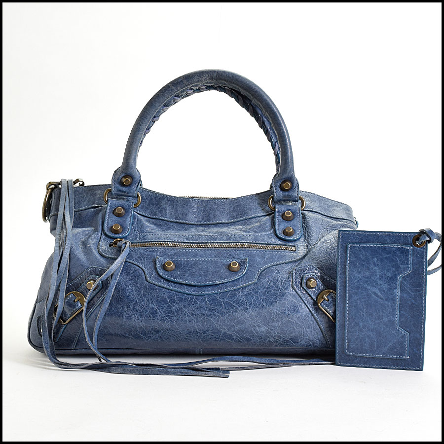 RDC9649 Balenciaga Bleu Chevre Leather Classic Hardware First Bag